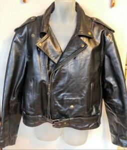 XL RaMONES Mens MOTORCYCLE JACKET Thick Black Genuine Leather Heavy Canada 46 Cowhide Great Quality Vintage Retro Biker
