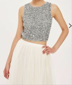 TOPSHOP/LIPSY embellished crop top by lace and beads, size S/10 - 3 available