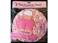 ** £1 ** New & Unused Pink Cardboard Cupcake Tier Stand