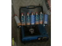 HALFORDS CAMPING STOVE WITH CASE PLUS GAS CANS