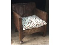 Antique Leather and Carved Wood Childs' small Chair