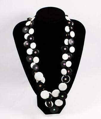 Necklace Earrings Set Premium Fashion Jewelry Black White Disks JXNG New