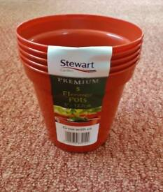 5 Terracotta Brown Stewart Plastic Garden Plant / Flower Pots 5 inch / 12.5cm