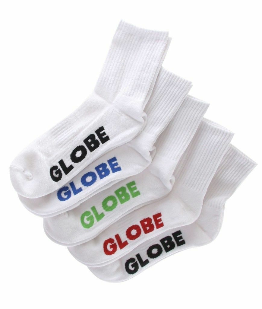 Globe Socks 5 Pack Stealth Crew White Size 12-15 Skateboard Sox FREE POST