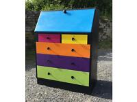 Painted retro writing bureau