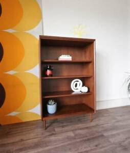 1960's Retro Danish Parker Style Bookshelf, Teak Slim Bookcase
