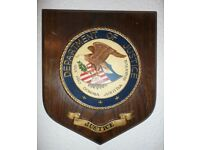 U.S. Department of Justice Plaque Mounted on Mahogany Wood