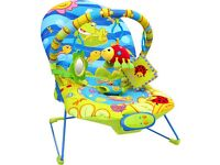 Baby Chair with Vibrate, Music, Toybar, Adjustable Back