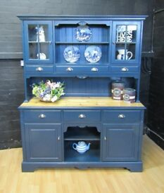 JAYCEE Large Solid Pine Welsh Dresser - F&B No30 HAGUE BLUE - Farmhouse Style