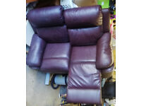 Two-seater Brown Leather Recliner Sofa