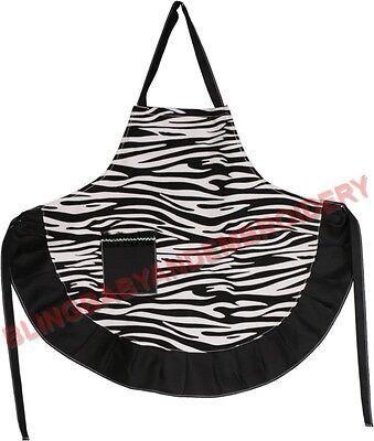 Zebra Apron Black Full Length Smock Embroidery Rhinestone Option