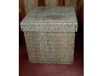 "SET OF 3 SEAGRASS STORAGE CUBES LIDDED 16"" / 13"" / 10"""
