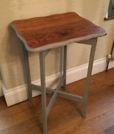 Hand painted vintage shabby chic side table in grey
