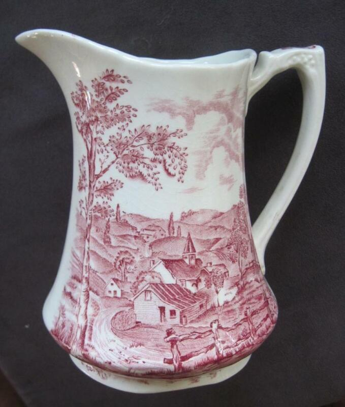 """Alfred Meakin Staffordshire England Reverie Red/Pink Transfer Ware 6"""" Pitcher"""