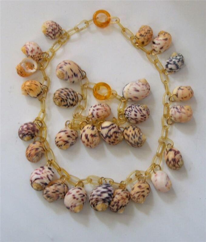 Vintage Art Deco Era Celluloid Sea Shell Festoon Necklace and Bracelet Set MINT