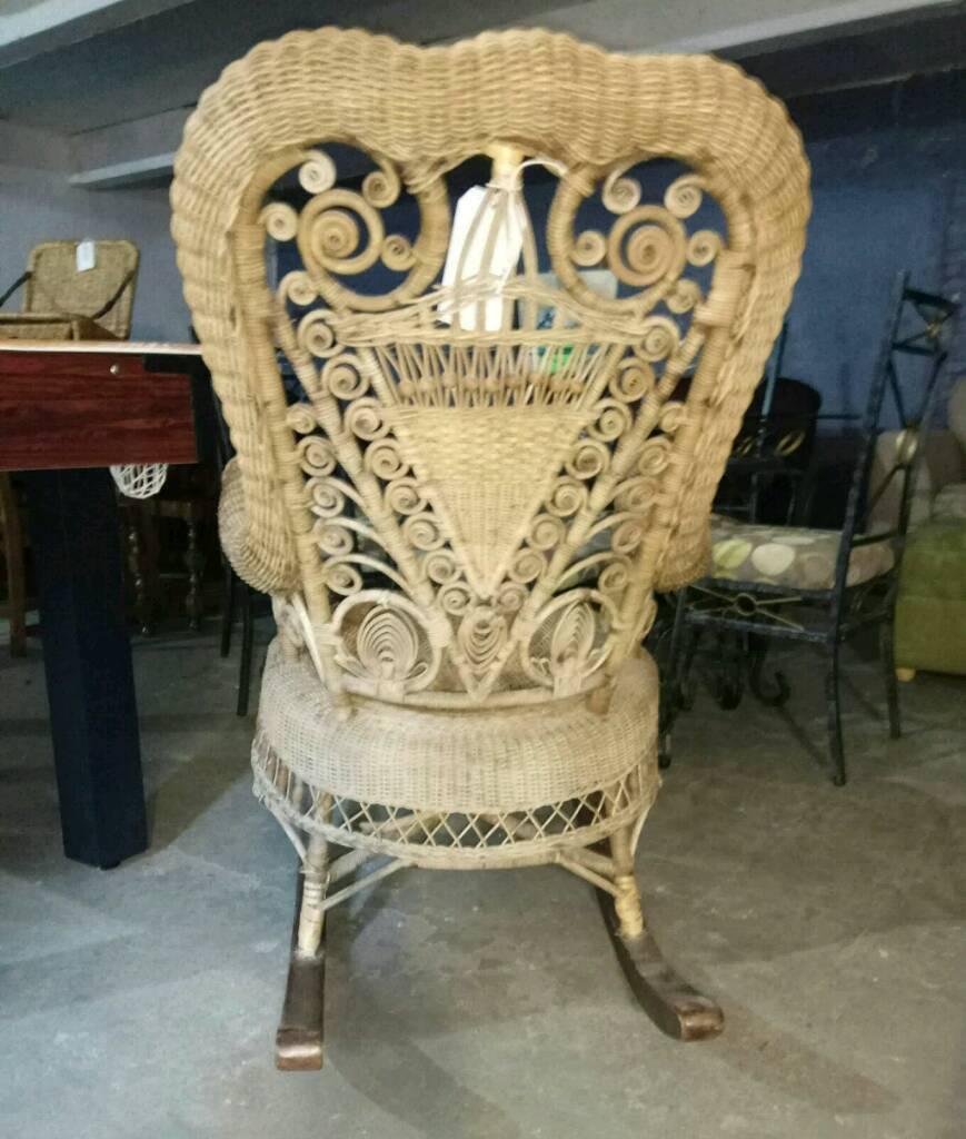 Beautiful Edwardian wicker rocking chair