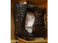 Brown Leather Knee High Boots. UK Size 7.