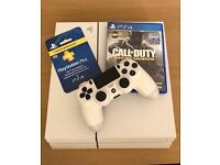 PlayStation 4 white edition 500GB with game and 3 month membership