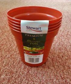 5 Brown Stewart Plastic Garden Plant / Flower Pots 5 inch