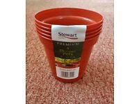 """5 Brown Stewart Plastic Garden Plant / Flower Pots 5"""" inch"""