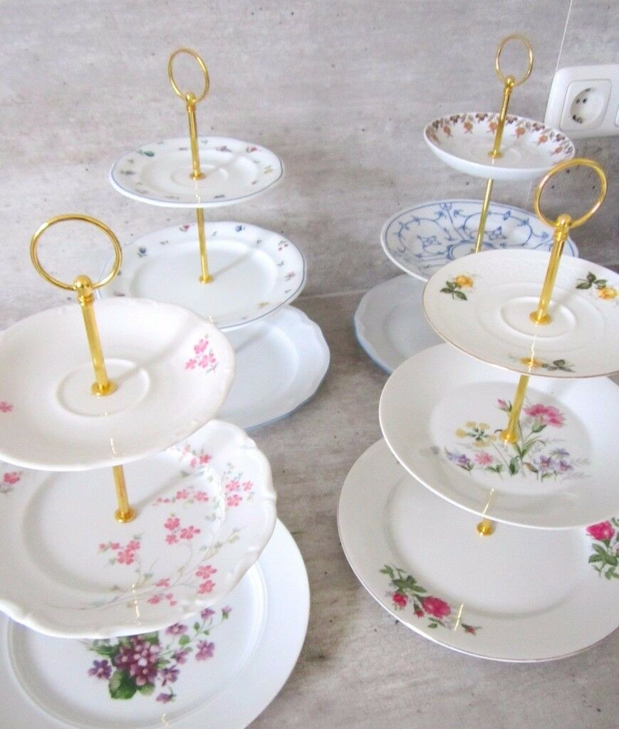 Job lot of 10 stunning vintage cake stands - perfect for cafe tea party wedding!