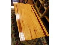 NEW SALE PRICE - UNIQUE HAND CRAFTED TWO TONE OAK & TEAK SHAPED COFFEE TABLE - WE CAN DELIVER!