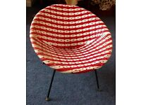 SOLD * 1960s Retro MID CENTURY Child's Chair Plastic Woven Circular Metal Frame Red and White