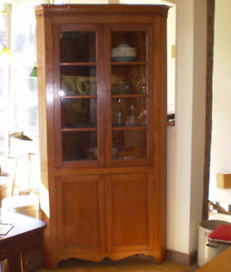 Antique cherry corner cabinet with glass doors and key for 1880 kitchen cabinets