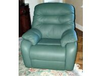 "Hardly used comfortable G Plan leather chair. Lichen Green. Would be great in a ""man cave''"