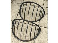 Pair of forged hay rack plant holders
