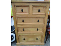 A NICE LARGE MEXICAN PINE 5 DRAW CHEST