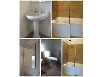 Bathroom suite: Bath, Shower Screem, WC, Basin, Mirror, Radiator