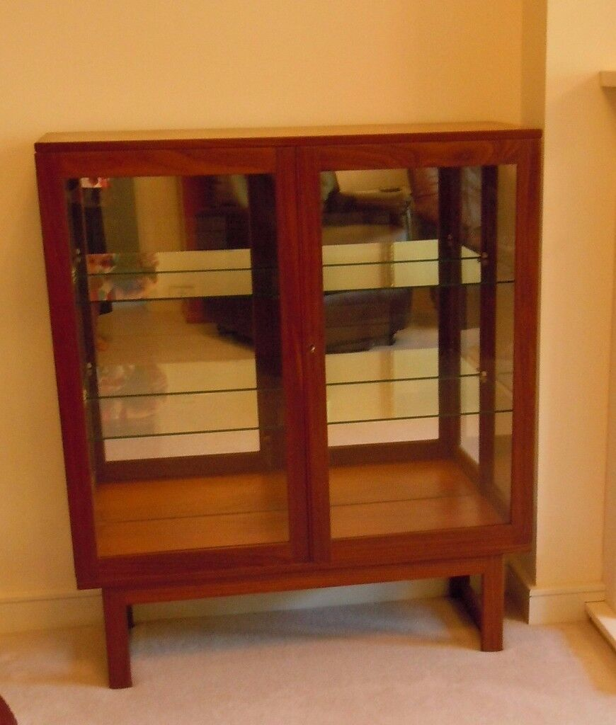 Reduced To 16 Teak Display Cabinet With Mirrored Inner And Glass