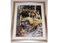 """""""LOOKOUT TOWER"""" CARL BRENDERS SILVER GOLD FRAME WOLF PACK NATURE ART 741 OF 950"""