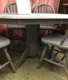Shabby chic effect dining table and chairs solid wood