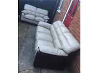 Cream/brown leather 3&2 seater sofas