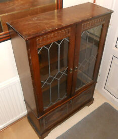 Oak Bookcase or Display Unit with Glazed Doors