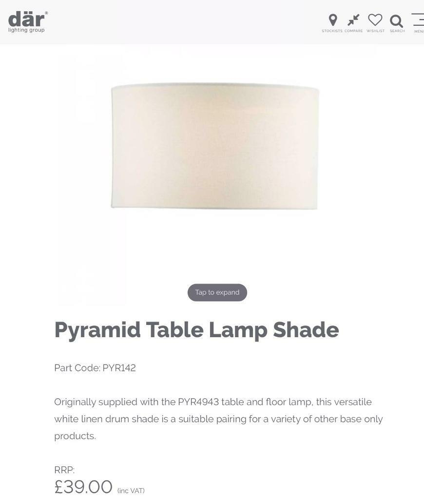 Dar Lighting Pyramid White Large Shade