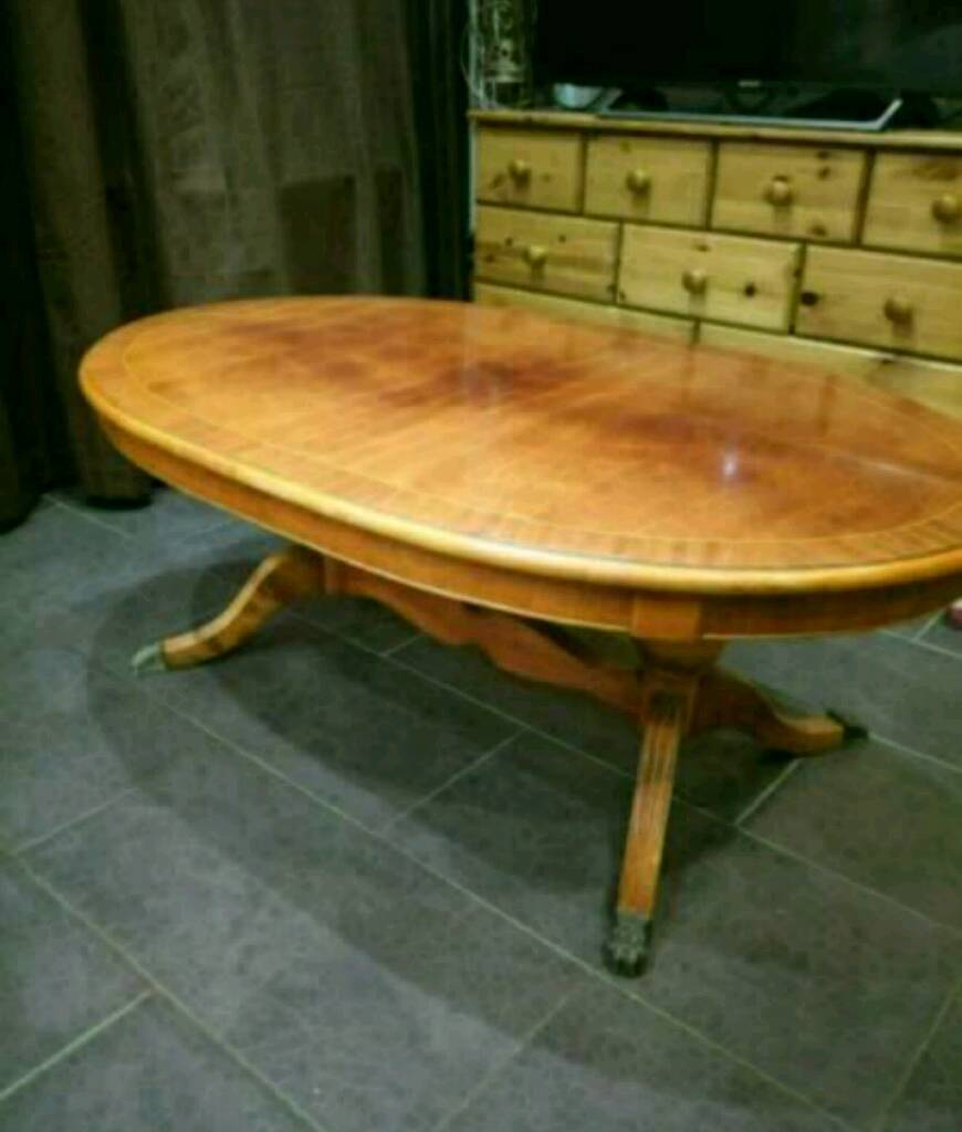 Oval Coffee Table Gumtree: MUST GO - Large Lion Claw Foot Coffee Table.