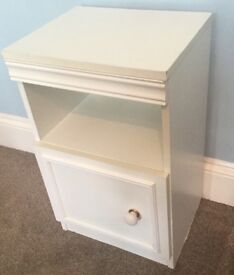 One White Bedside Cupboard with shelf above H24in/61cm W14.5in/37cm D13in/33cm