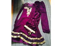 Asian Women Party Dress, size M, 3-piece, with dupatta and trousers, embroidery & stonework