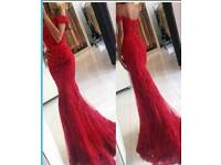 Red fishtail style dress
