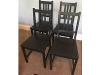 4 IKEA Stefan Black Wooden Dining Room Chairs