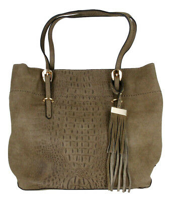 Embossed Fashion Tote - Alligator Embossed Soft Faux Leather Fashion Designer Shop Tote Handbag Purse