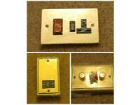 Volex Cooker Switches, Shaver Socket, Light Switch - Brass