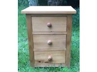 Pair solid oak bedside tables, 3 drawers in each, very good condition