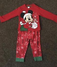 Disney Mickey Mouse Christmas pyjamas Age 12 - 18 Months