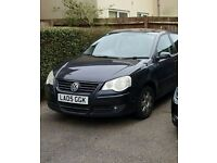 Black Volkswagen Polo 05 Reg (newer headlight style), Manual, 5 Door, 115000 miles.