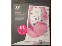 New girls pink KitSound Malibu Headphones ( still sealed )