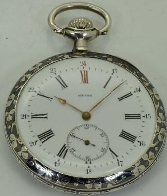 Very collectible antique Omega Grand-Prix silver&Niello pocket watch c1900's
